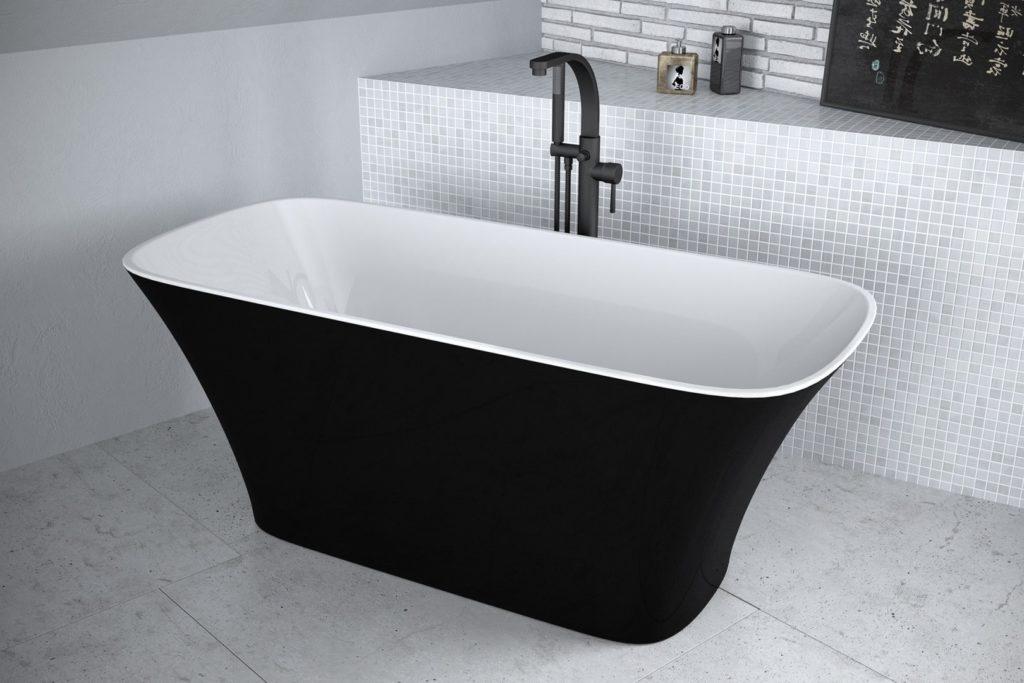 Besco Assos Wanna wolnostojąca 160x70 cm czarno-biała